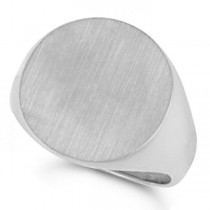 Men's Signet Ring, Round Shaped, Engravable in Solid 14k White Gold