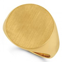 Men's Signet Ring, Round Shaped, Engravable in Solid 14k Yellow Gold