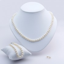 Freshwater Pearl Jewelry Set 6.-6.5mm 14K White Gold