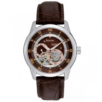 Bulova Men's Brown Dial Dual Aperture Leather Strap Automatic Watch