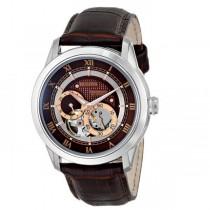 Bulova Men's Brown Dial Dual Aperture Leather Strap Automatic Watch