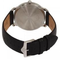 Bulova Men's Stainless Steel Dial Black Leather Strap Quartz Watch