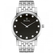Bulova Men's Stainless Steel Black Dial Diamond Accented Watch