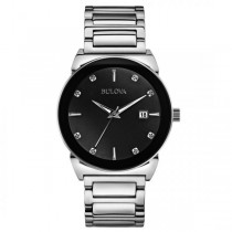 Bulova Men's Black Dial Stainless Steel Diamond Accented Quartz Watch