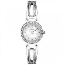 Bulova Women's Swarovski Crystal Bangle Stainless Steel Quartz Watch