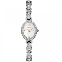 Bulova Women's Swarovski Crystal Oval Stainless Steel Watch Quartz