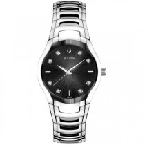 Bulova Women's Stainless Steel Diamond Accented Black Dial Watch