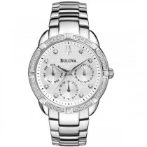 Bulova Women's Silver Dial Chronograph Diamond Accented Quartz Watch
