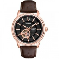 Bulova Men's Rose Gold Black Dial Brown Leather Strap Automatic Watch