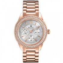 Bulova Women's Chronograph Silver Dial Rose Gold Tone Quartz Watch