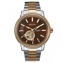 Bulova Automatic Watch Brown Dial Two Tone Stainless Steel Bracelet
