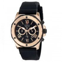 Bulova Men's Black and Rose Gold-Tone Chronograph Rubber Strap Watch