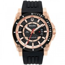 Bulova Men's Black Rubber Strap Rose-Tone Champlain Watch Precisionist