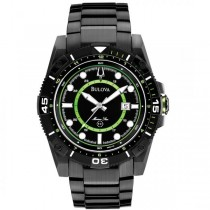 Bulova Men's Black Ion-Plated Dial Stainless Steel Marine Watch