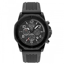 Bulova Men's Black Dial Chronograph Rubber Strap Marine Watch
