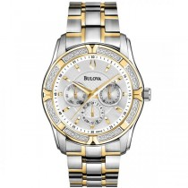 Bulova Men's Two Tone Diamond Stainless Steel Chronograph Quartz Watch