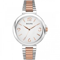 Bulova Women's White Dial Two Tone Stainless Steel Quartz Watch