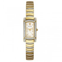 Women's Bulova Watch Rectangular, Crystal Stones, Stainless Steel
