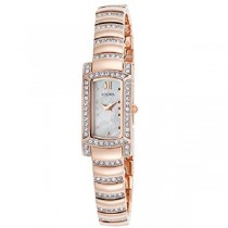 Ladies Bulova Rectangular Watch Clear Crystals Rose Stainless Steel