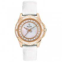 Bulova Women's Mother-of-Pearl Dial White Lizard Leather Strap Watch