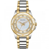 Bulova Women's Mother of Pearl Diamond Two Tone Stainless Steel Watch