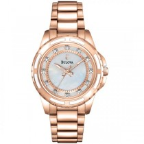 Bulova Women's Rose Gold-Tone Stainless Steel Diamond Quartz Watch