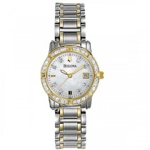Bulova Women's Mother-of-Pearl Two Tone Diamond Accented Quartz Watch