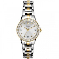 Bulova Women's Silver Dial Two Tone Diamond Accented Quartz Watch