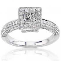 Princess Cut Halo Diamond Engagement Ring 14K Gold (1.00ct)