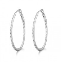 Micro Pave Medium Oval Diamond Hoop Earrings Sterling Silver (0.26ct)