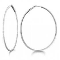 Micro Pave X-Large Oval Diamond Hoop Earrings Sterling Silver (0.62ct)