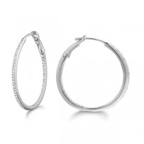 Micro Pave Medium Round Diamond Hoop Earrings Sterling Silver (0.26ct)