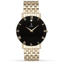 Allurez Men's Black Dial Gold-tone Stainless Steel Watch