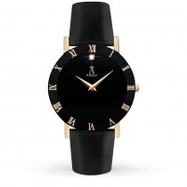 Allurez Men's Black Dial & Black Leather Strap Watch