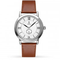 Allurez Unisex White Dial & Brown Leather Strap Watch