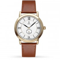 Allurez Unisex Brown Leather Gold-tone Stainless Steel Watch