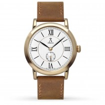 Allurez Unisex Brown Leather & Gold-tone Stainless Steel Watch