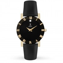Allurez Women's Black Dial & Leather Strap Stainless Steel Watch