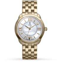 Allurez Women's Mother of Pearl Dial Gold-tone Boyfriend Watch