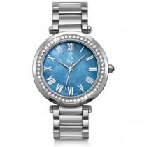 Allurez Women's Blue Mother of Pearl Dial Stainless Steel Watch