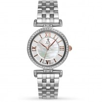 Allurez Women's Mother of Pearl Dial Bi-Fold Stainless Steel Watch