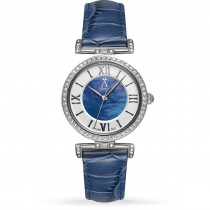 Allurez Women's Blue Mother of Pearl Dial Genuine Leather Strap Watch