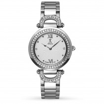 Allurez Women's White Dial Swarovski Crystal Stainless Steel Watch