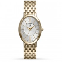 Allurez Women's Oval Dial Gold-tone Stainless Steel Bracelet Watch