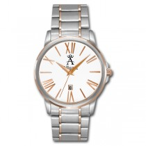 Allurez Men's Two-Tone Classic Rose Gold Wrist Watch Swiss Quartz