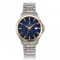 Allurez Men's Two Tone Stainless Steel Blue Dial Luminous Timepiece