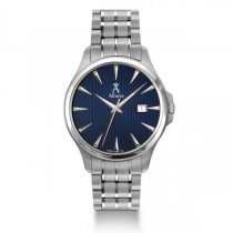 Allurez Men's Stainless Steel Blue Dial Swiss Made Luminous Timepiece
