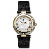 Allurez Women's Twisted-Rope Bezel Leather Strap Watch Mother Of Pearl