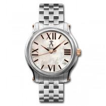 Allurez Bold Roman Pearl Dial Wrist Watch Stainless Steal Swiss Quartz