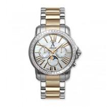 Allurez White Topaz Two-Tone Swiss Wrist Watch w/ Mother Of Pearl Dial